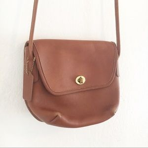 Vintage COACH Camel Leather Crossbody Bag